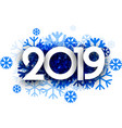 winter 2019 background with blue snowflakes vector image vector image