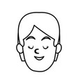 woman smiling with eyes closed vector image vector image
