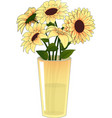 yellow flowers in a yellow vase vector image vector image