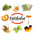 oktoberfest icon set with hat accordion sausage vector image