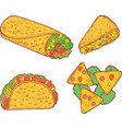 mexican food set graphic doodle cartoon art vector image