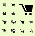 shopping cart icon set isolated vector image