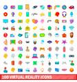 100 virtual reality icons set cartoon style vector image vector image