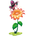 A butterfly above the giant flower vector image vector image