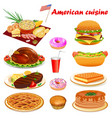 american cuisine with steak turkey punkake vector image vector image