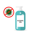 anti coronaviruscovid19 with alcohol gel bottle vector image vector image