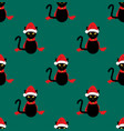black cat santa hat seamless on green teal vector image vector image
