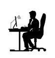 black silhouette man working at computer vector image