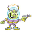 Cartoon alien with a ray gun vector image vector image