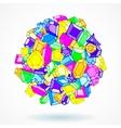 Cartoon doodle gems ball background vector image vector image