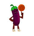 cartoon eggplant character basketball vector image vector image