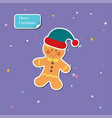 christmas gingerbread man with santa hat sticker vector image