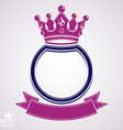 circle with 3d decorative royal crown and festive vector image vector image