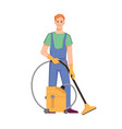cleaner staff vacuuming floors or carpets vector image vector image