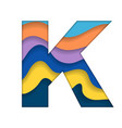 colorful letter k vector image vector image