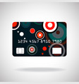 credit card icon with colorful circles isolated on vector image