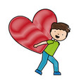 cute little boy character with heart love vector image vector image