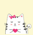 cute sketch cat with heart vector image vector image