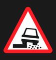dangerous roadside and shoulder sign flat icon vector image vector image