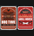 family weekend barbecue grill picnic retro poster vector image vector image