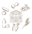 Farming and agriculture sketched icons vector image