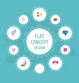 flat icons love posy couple and other vector image vector image