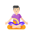 flat style of asian man doing yoga vector image