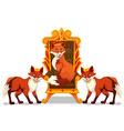 Foxes sitting on the throne vector image vector image