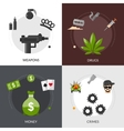 Gangster Flat Icons Composition vector image