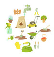 gardener tools icons set cartoon style vector image