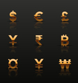 Golden currency icons set vector image vector image