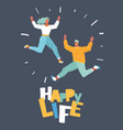 happy business man and woman jumping vector image vector image