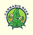 happy cannabis leaves with two beer mascot badge vector image vector image