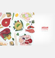 horizontal banner template with delicious meals of vector image