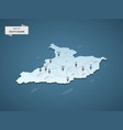 isometric 3d south sudan map concept vector image vector image