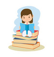 little girl student reading book vector image vector image