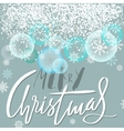 Merry Christmas lettering design with blue and vector image