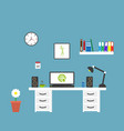 modern flat home office workspace interior vector image