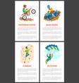 motorbike and wall climbing skydiver poster set vector image vector image