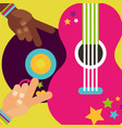 musical guitar vinyl disc hands peace love hippie vector image
