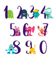 numbers for happy birthday with cute vector image