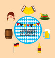 oktoberfest celebration with set icons vector image vector image