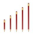 Red wooden sharp pencils vector image vector image