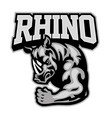 rhino mascot showing his muscle arm vector image vector image