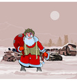 Santa Claus at the dump wrecked cars nuclear vector image vector image