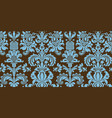 seamless damask pattern blue and brown colors vector image vector image