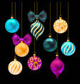 set christmas balls on black background vector image
