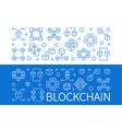 set of 2 blockchain horizontal outline vector image vector image