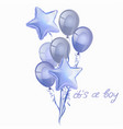 set realistic glossy blue ballons isolated in vector image
