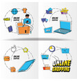 shopping online pop art set icons vector image